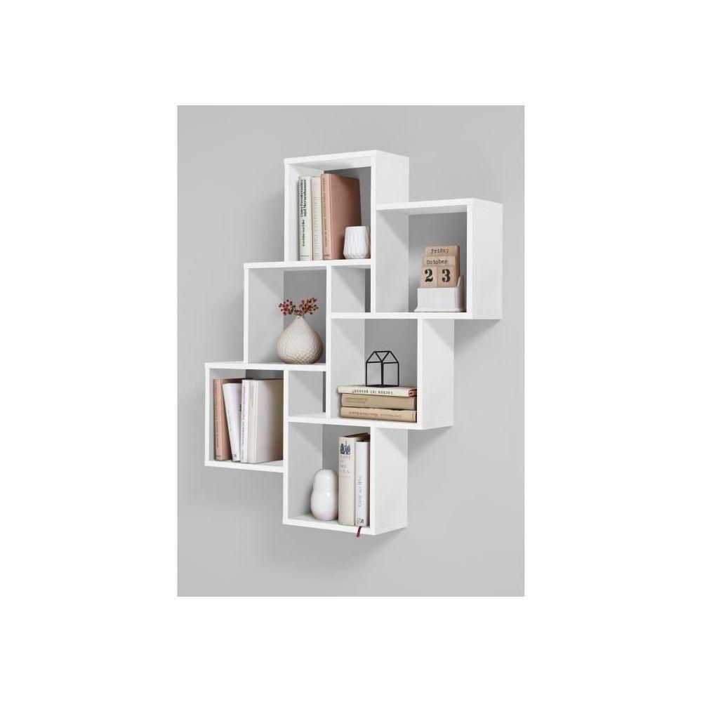 marque generique etagere murale echelle etagere laurio 2 etagere murale 6 compartiments 81 5 x 94 5 x 16 cm panneau melamine decor blanc