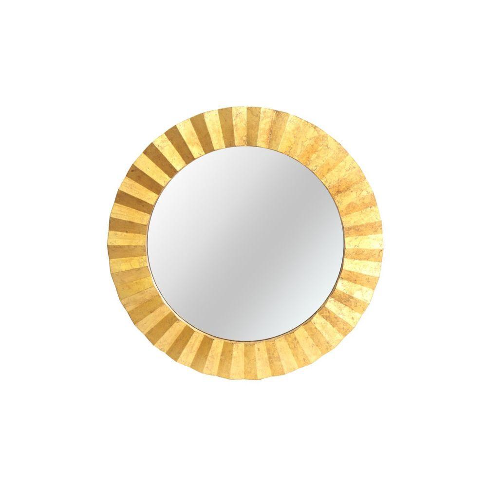 Heart Of The Home Miroir rond en métal design Flora - Diam. 80 cm - Doré