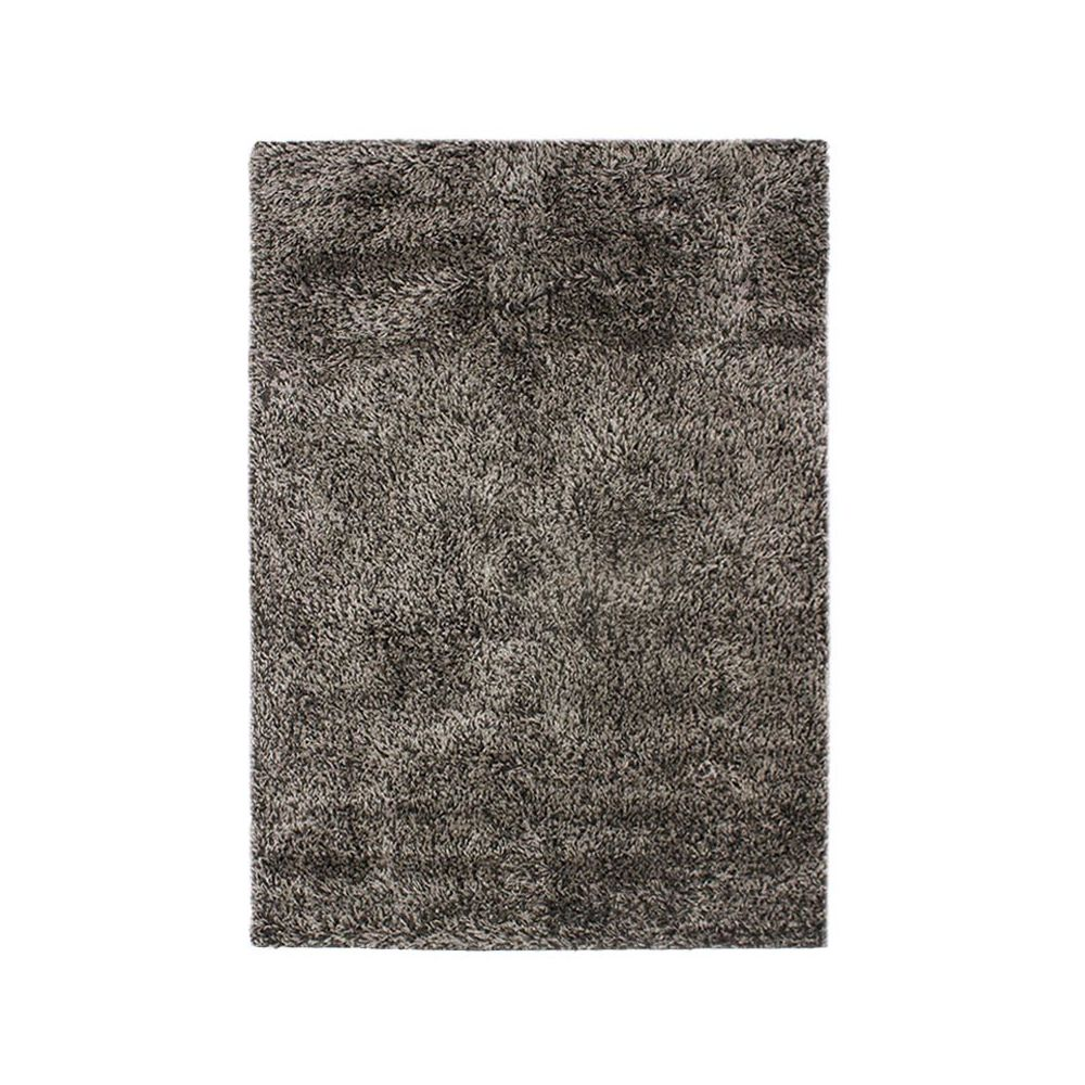 Mon Beau Tapis VALENCIA - Tapis à poils longs bi-colore noir et blanc 120x170