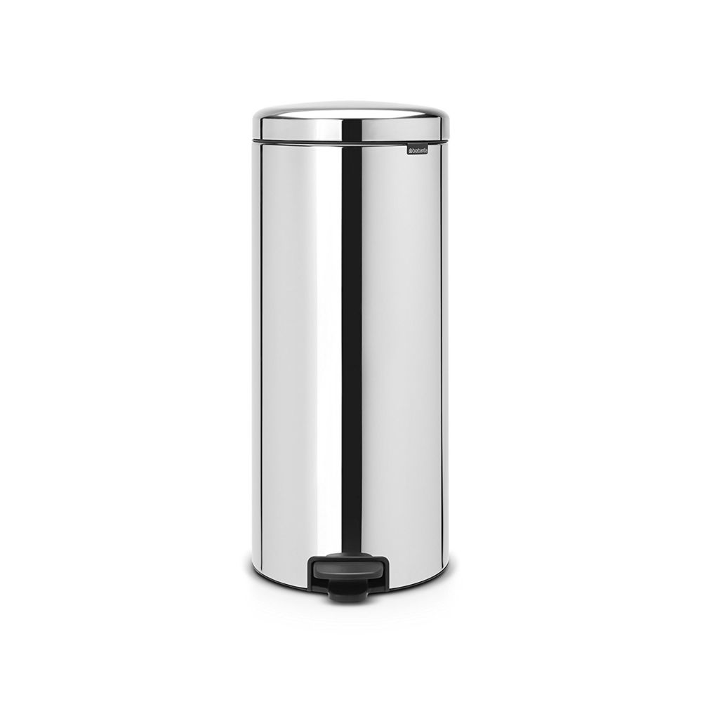 BRABANTIA Poubelle Newicon 30 L Inox brillant, Liner en métal, Brabantia