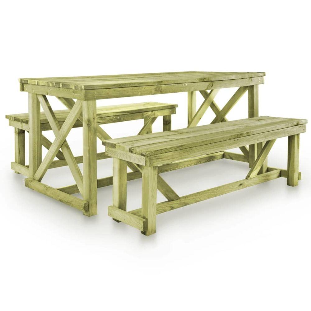 Vidaxl Ensemble de mobilier d'extérieur 3 pcs Bois FSC | Brun - Meubles/Meubles de jardin/Ensembles de meubles d'extérieur | Br