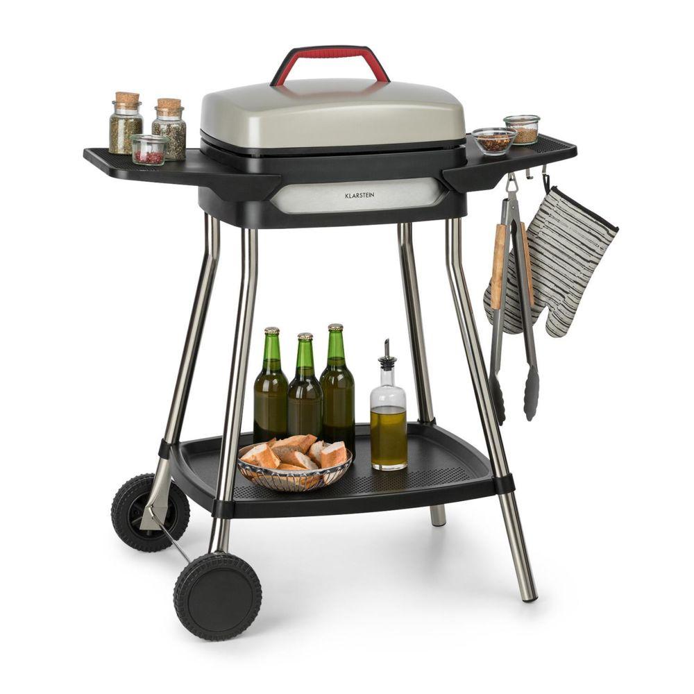 Klarstein Klarstein Gatsby Grill électrique 2000W - Table d'appoint - 4 pieds acier inox -Nettoyage facile - Beige & noir