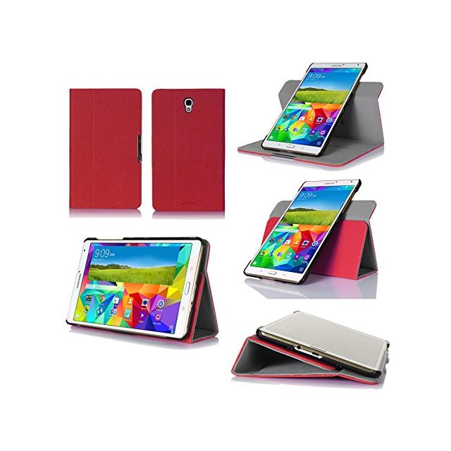 Xeptio - Samsung Galaxy Tab S 8.4 pouces Housse protection rotative Style Cuir rouge - Etui coque - Marchand Bestventes