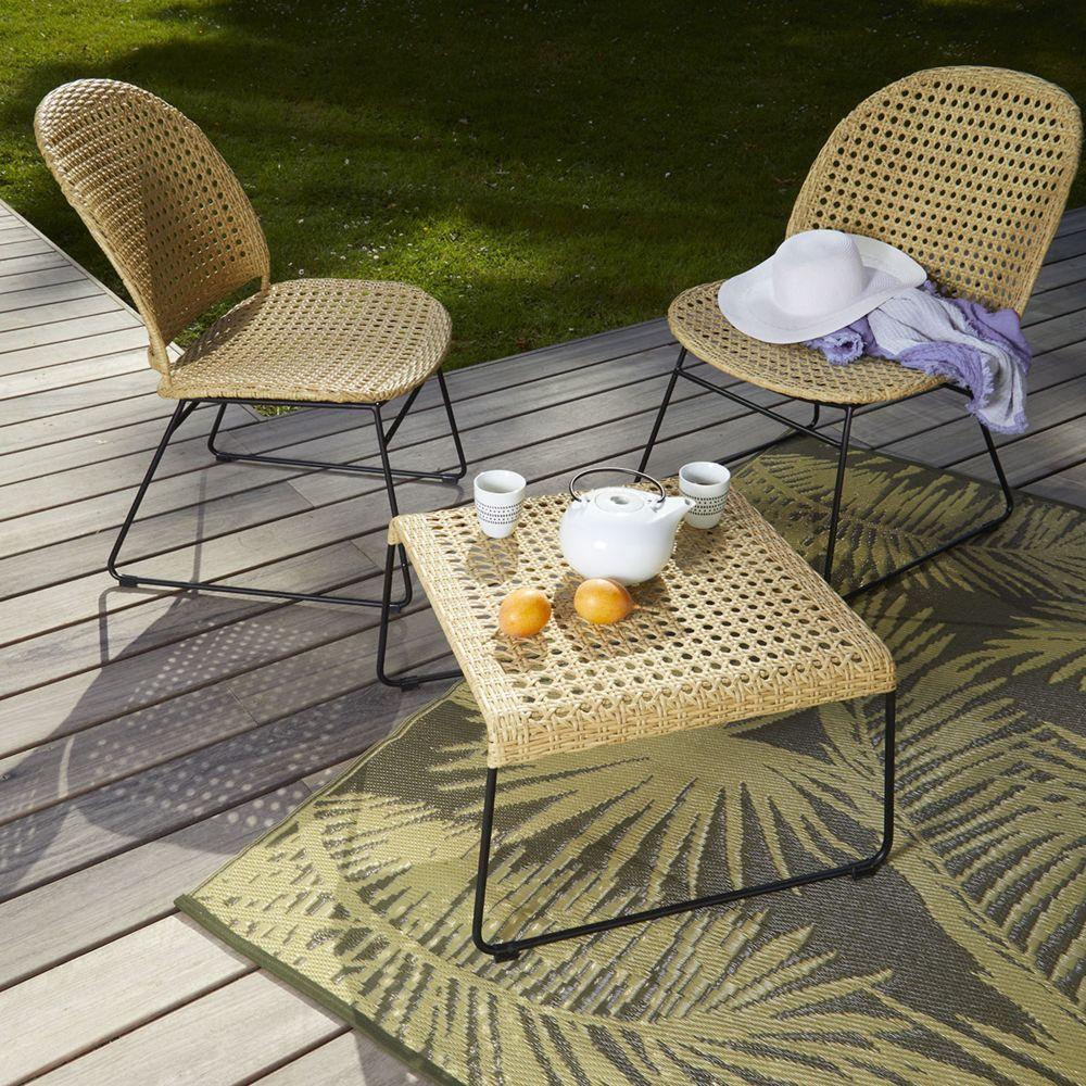 Cemonjardin Salon 2 fauteuils + table basse en rotin synthétique et métal