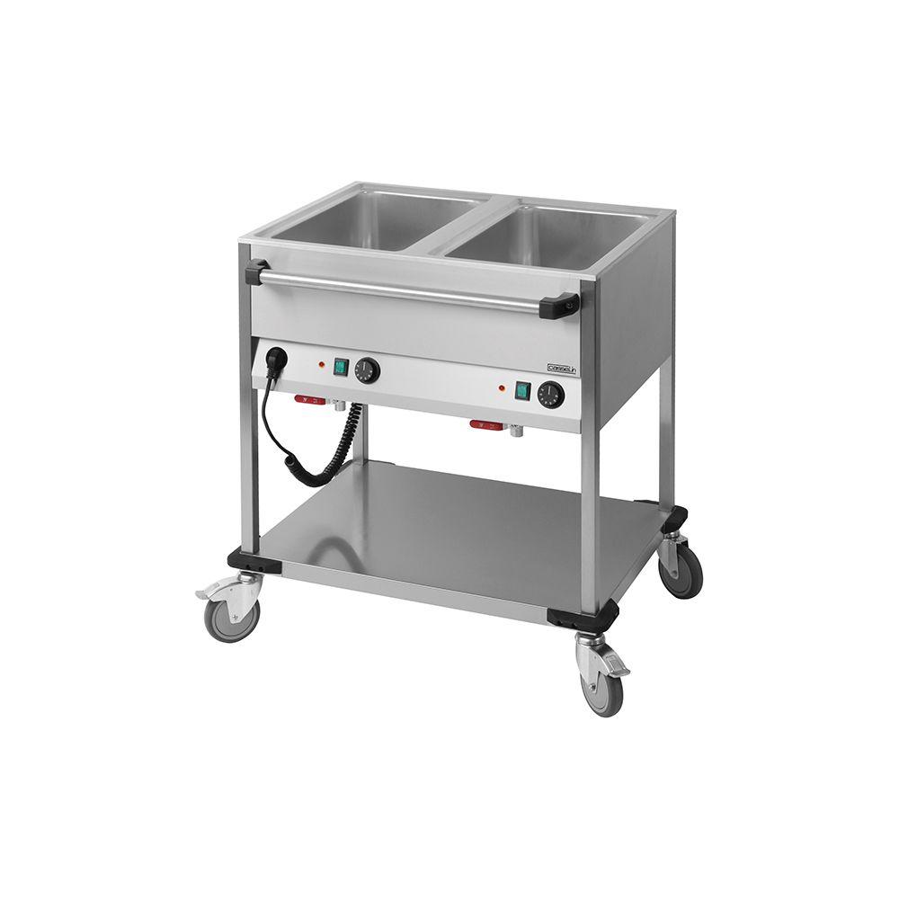 Casselin casselin - chariot bain-marie à eau inox 2 bacs gn 1/1 avec robinets de vidange - ccbm2h