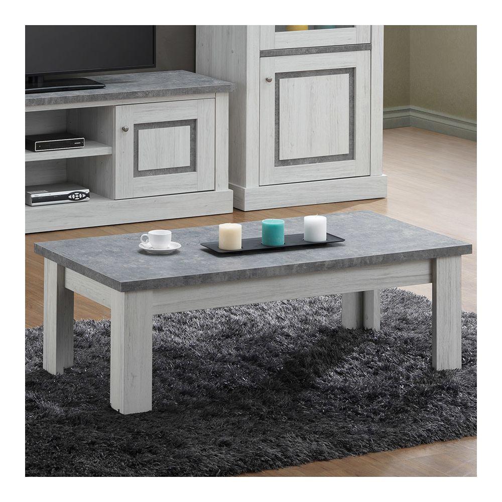 Sofamobili Table basse 120 cm couleur chêne clair et gris PETUNIA