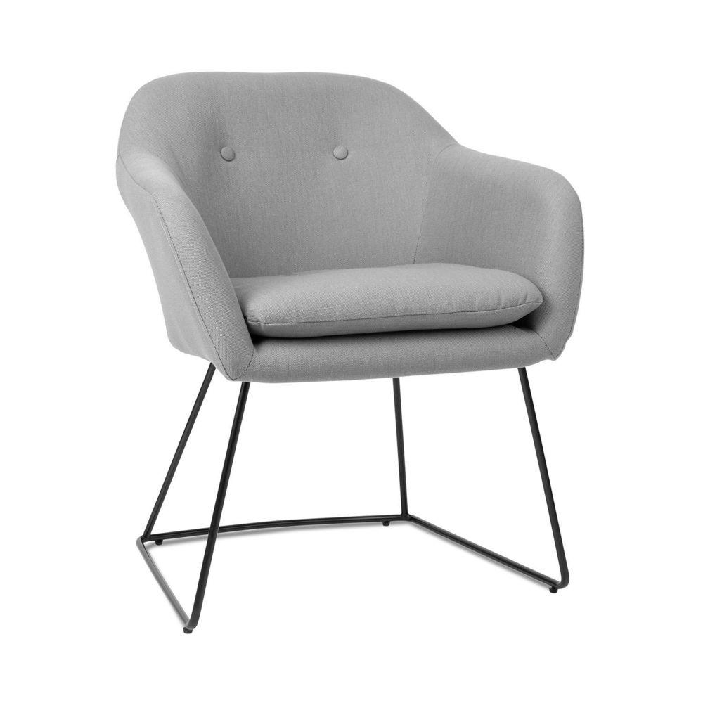 Besoa Besoa Zoe Chaise design rétro rembourrée de mousse - Pieds en acier - Revêtement en polyester velours gris