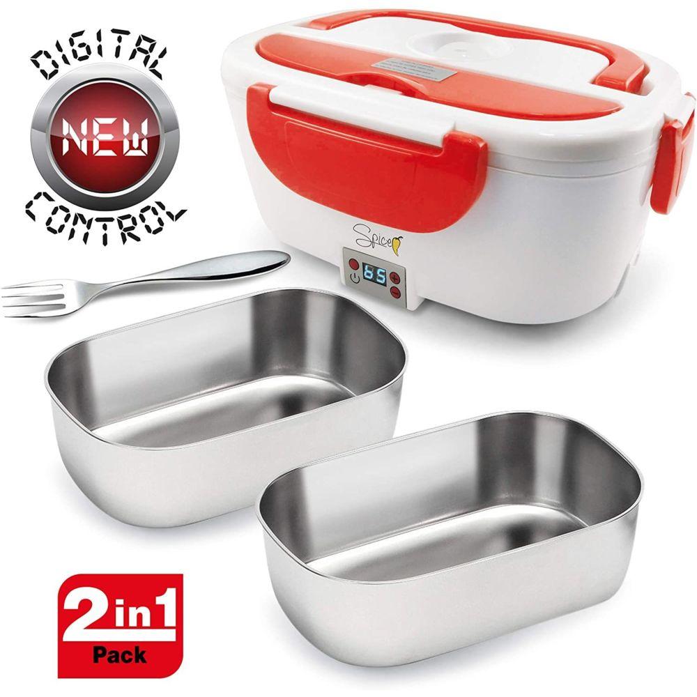 Spice Lunch box Boîte à Repas électrique Amovible de 1,5 L avec 2 bacs en acier inoxydable rouge blanc