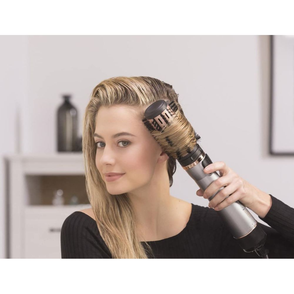Remington Brosse Cheveux Keratin Protect Rotative Soufflante Chauffante beige noir