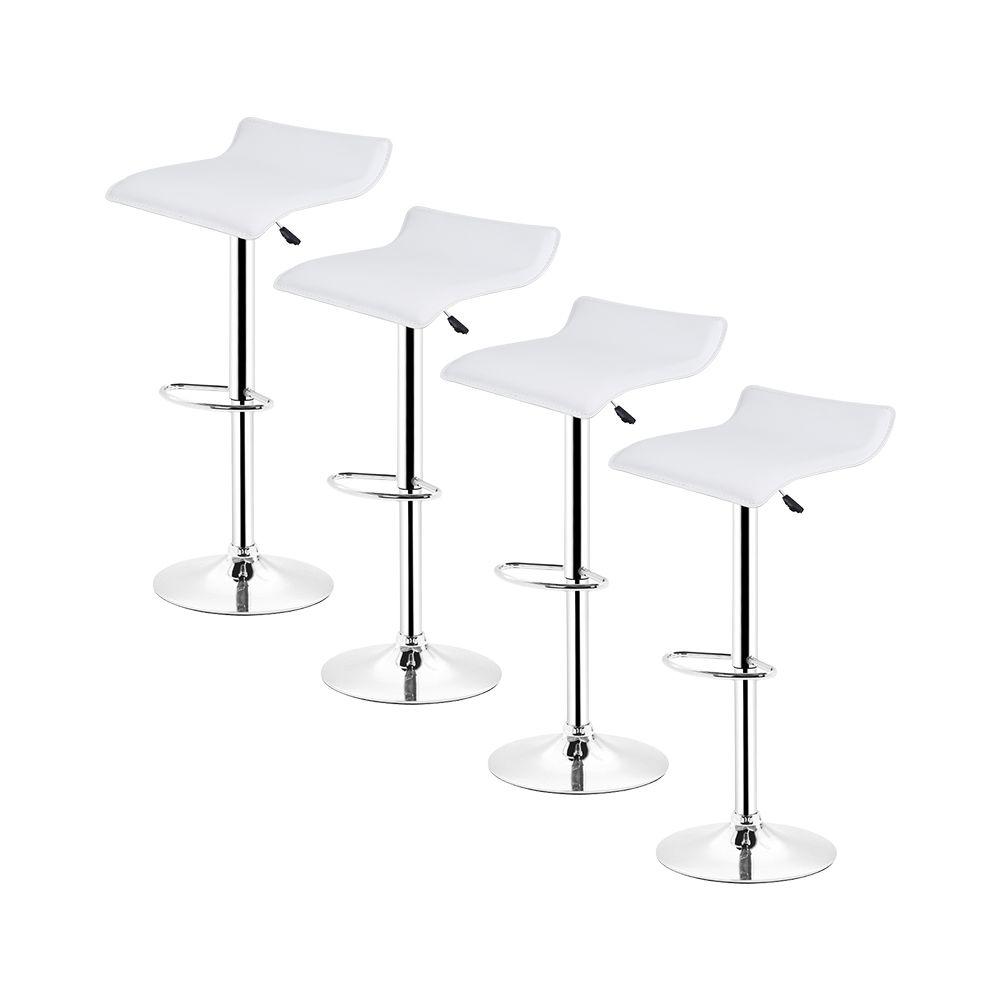 Ltppstore Lot de 4 Tabourets De Bar en PU style contemporain, rotation à 360 °, réglable en hauteur, BLANC