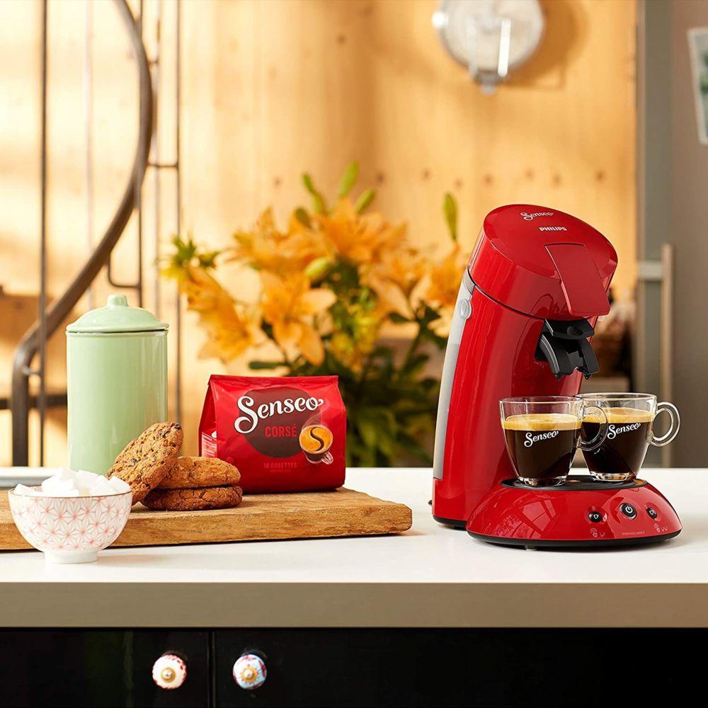 Philips Machine à Café à Dosettes SENSEO de 0,75L 1450W rouge intense