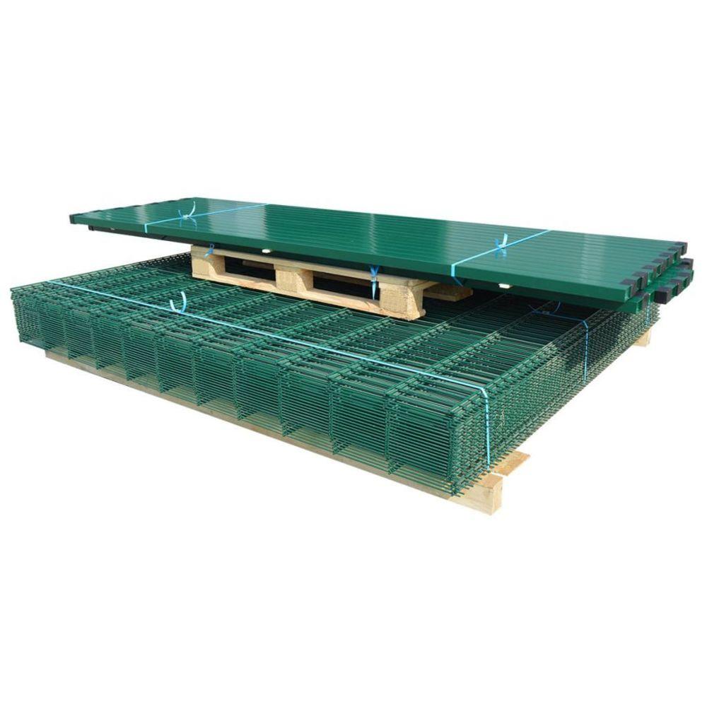 Vidaxl Panneaux et poteaux de clôture 2D pour jardin 2008x2030 mm 10 m   Vert