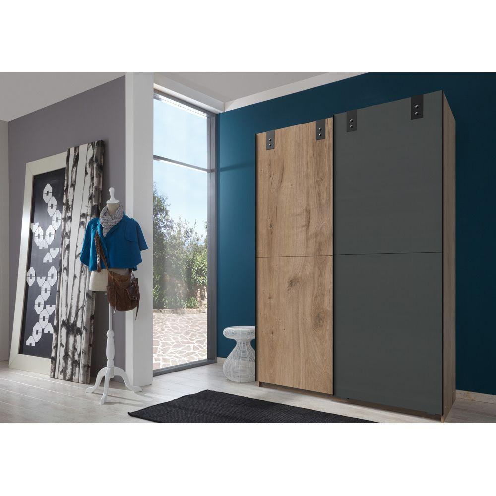 Pegane Armoire design 2 portes coulissantes chêne poutre rechampis graphite - L135 x H198 x P64 cm -PEGANE-