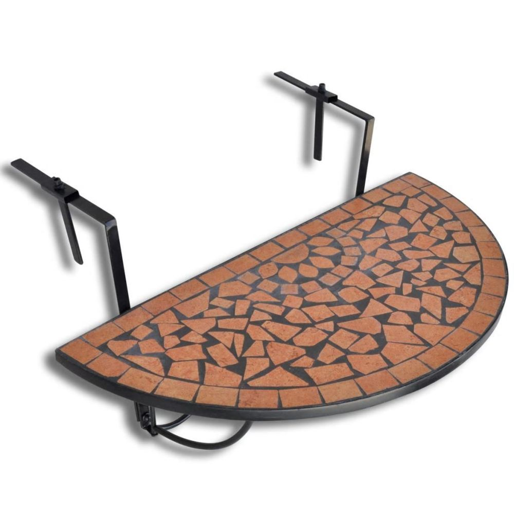 Vidaxl Table de balcon suspendue Demi-circulaire Terre cuite | Brun