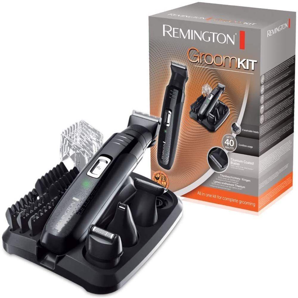 Remington Tondeuse Multifonctions pour Barbe Nez Oreilles Corps avec Lames Titanium Auto-Affutées gris noir
