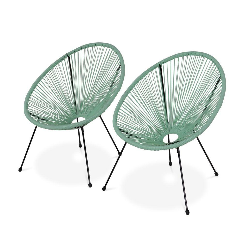 Alice'S Garden Lot de 2 fauteuils design Oeuf - Acapulco vert d'eau - Fauteuils 4 pieds design rétro, cordage plastique