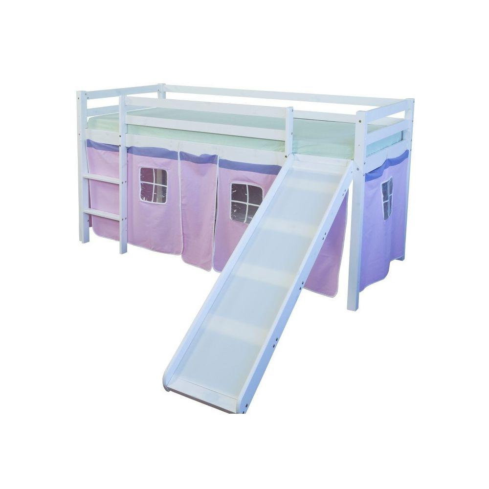 Decoshop26 Lit mezzanine 90x200cm avec échelle toboggan en bois blanc et toile rose LIT06116