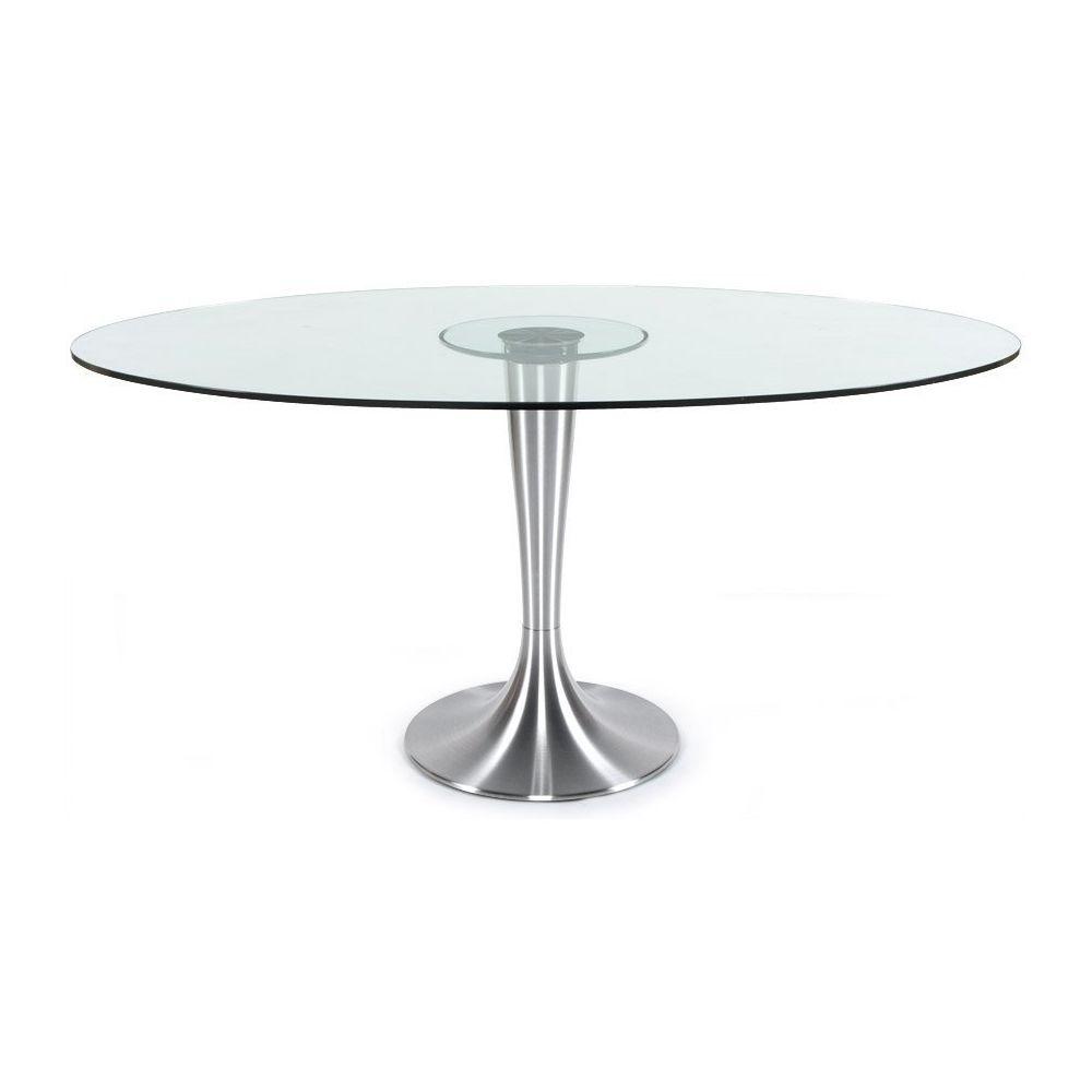 Alterego Table à dîner design 'KRYSTAL' ovale en verre - 160x108 cm