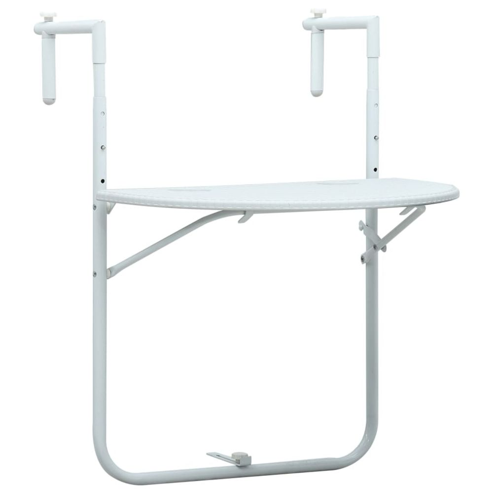 Vidaxl vidaXL Table de balcon Blanc 60x64x83,5 cm Plastique Aspect de rotin