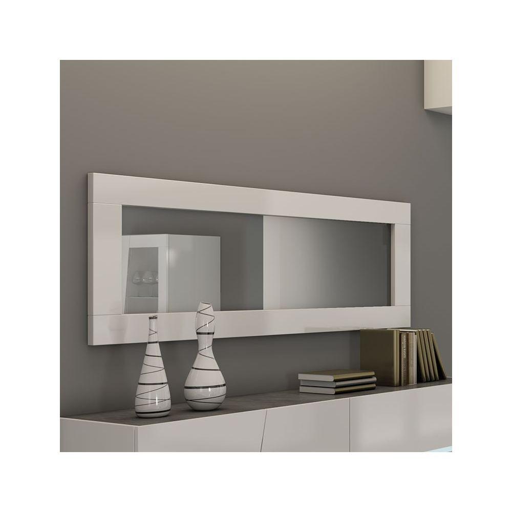 Nouvomeuble Miroir rectangulaire 180x60 cm blanc laqué design LAUREA