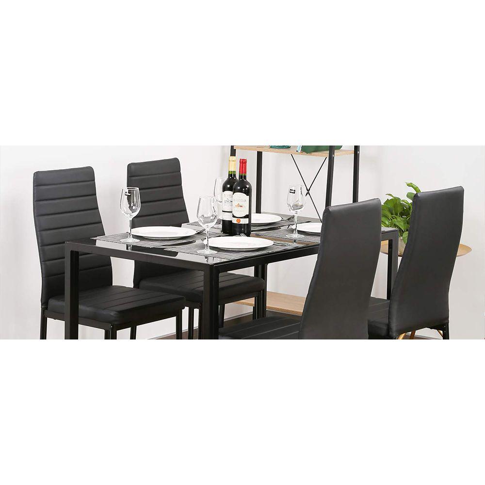 Jeobest Lot de 6 Chaises de Salle à Manger Noire en Simili Cuir - Design Moderne - Salon, Cuisine, Bureau