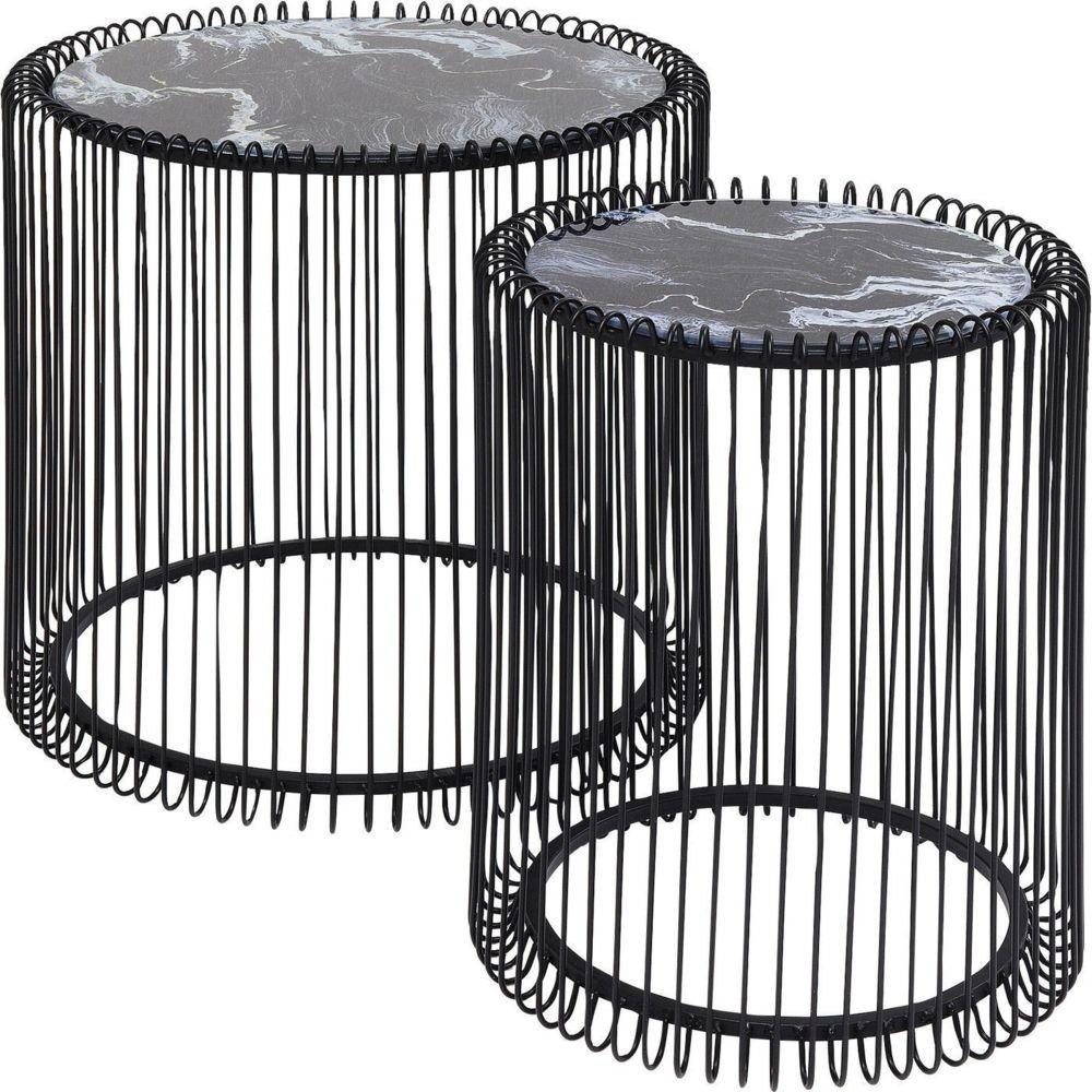 Karedesign Tables d'appoint rondes Wire noires marbre set de 2 Kare Design