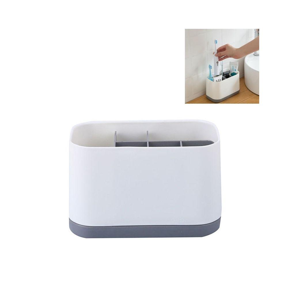 Wewoo Ensemble de toilette amovible pour brosse à dents avec rangement dentifrice gris