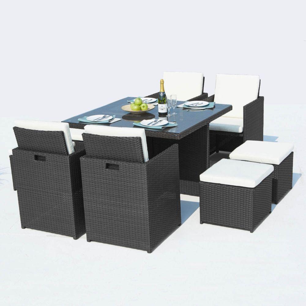 Concept Usine Monaco 8 : salon de jardin encastrable 8 places en résine tressée noir/blanc