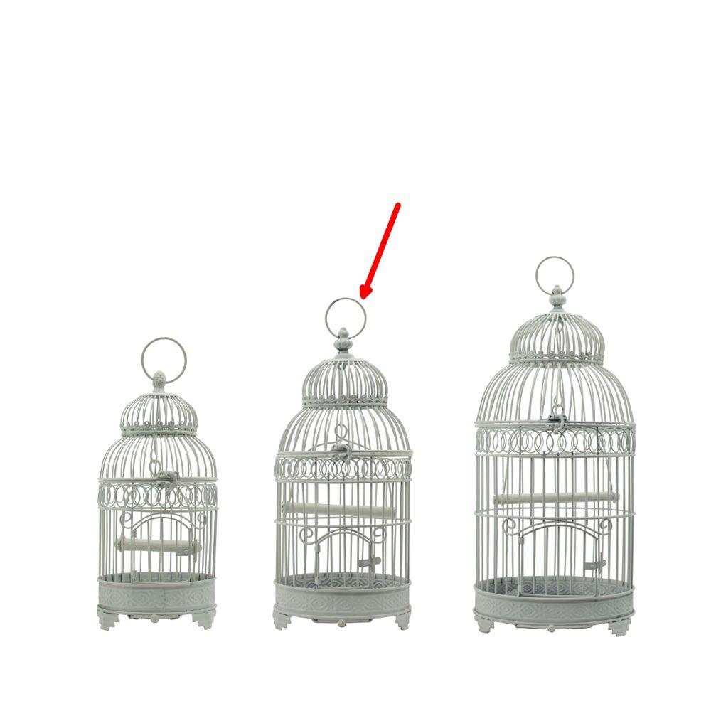 L'Originale Deco Cage à Oiseaux en Fer Rond Blanc 48 cm x ø21 cm
