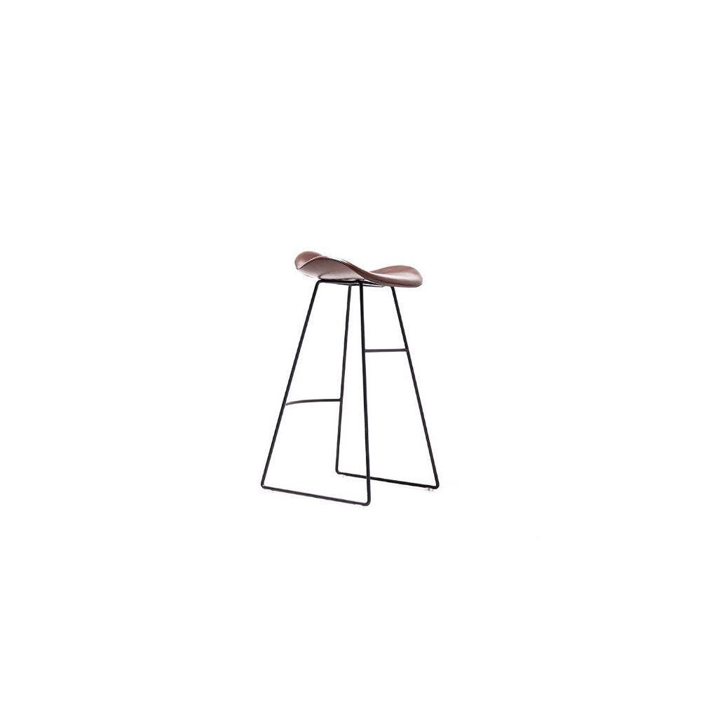 Wewoo Nordic Design Tapis de cuir PU rembourré Tabouret de comptoir de chambre avec base en métal café