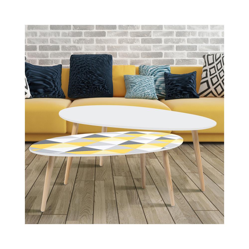 Idmarket Lot de 2 tables basses gigognes laquées blanc motifs blanc jaune gris