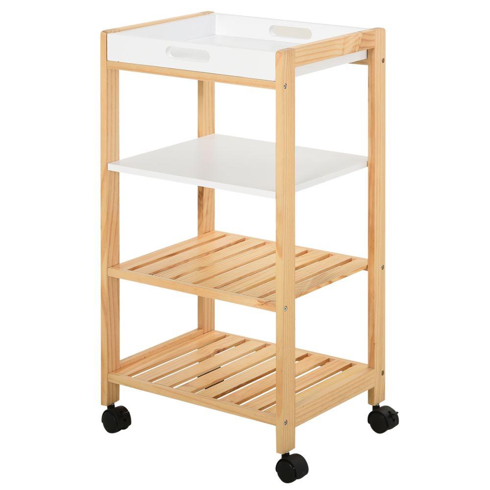 Homcom Chariot de service desserte de cuisine à roulettes 3 étagères + plateau amovible bois de pin MDF blanc