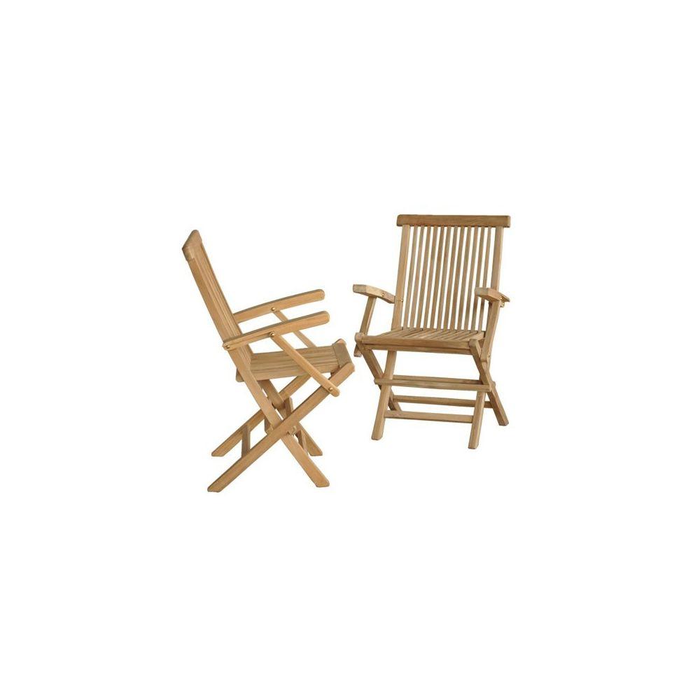 Bois Dessus Bois Dessous Lot de 2 fauteuils de jardin pliants en bois de teck