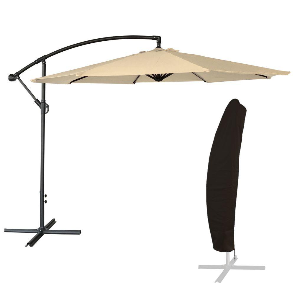 Happy Garden Parasol déporté OAHU rond 3m de diamètre beige + housse