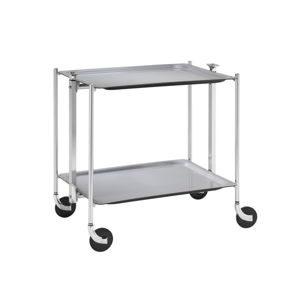 Platex Table roulante pliable grise avec 2 plateaux