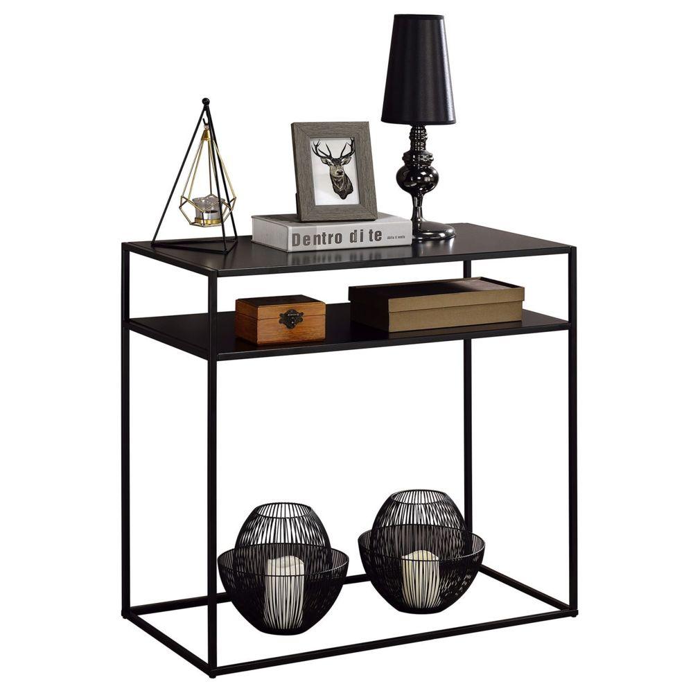 Idimex Table console GONZALO 2 tablettes, cadre en métal laqué noir et plateau en MDF décor noir mat
