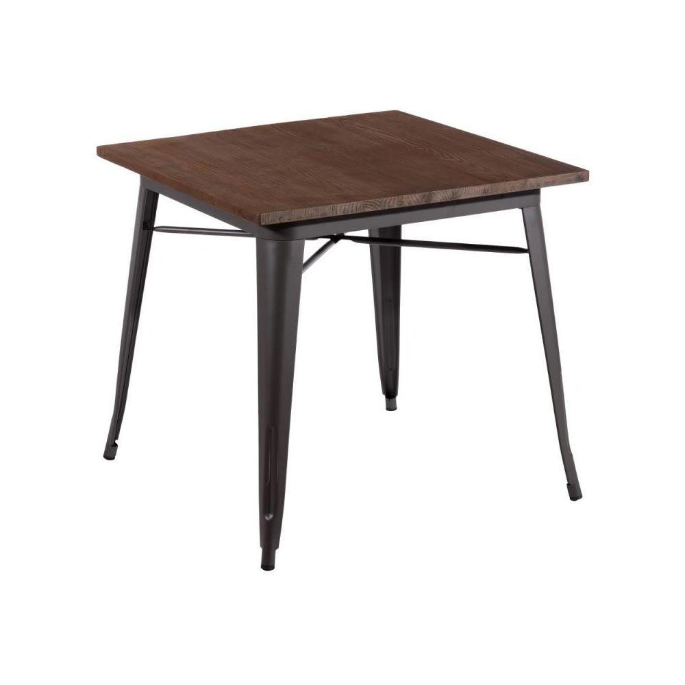 Tousmesmeubles Table de repas carrée Bois/Métal - EASHA