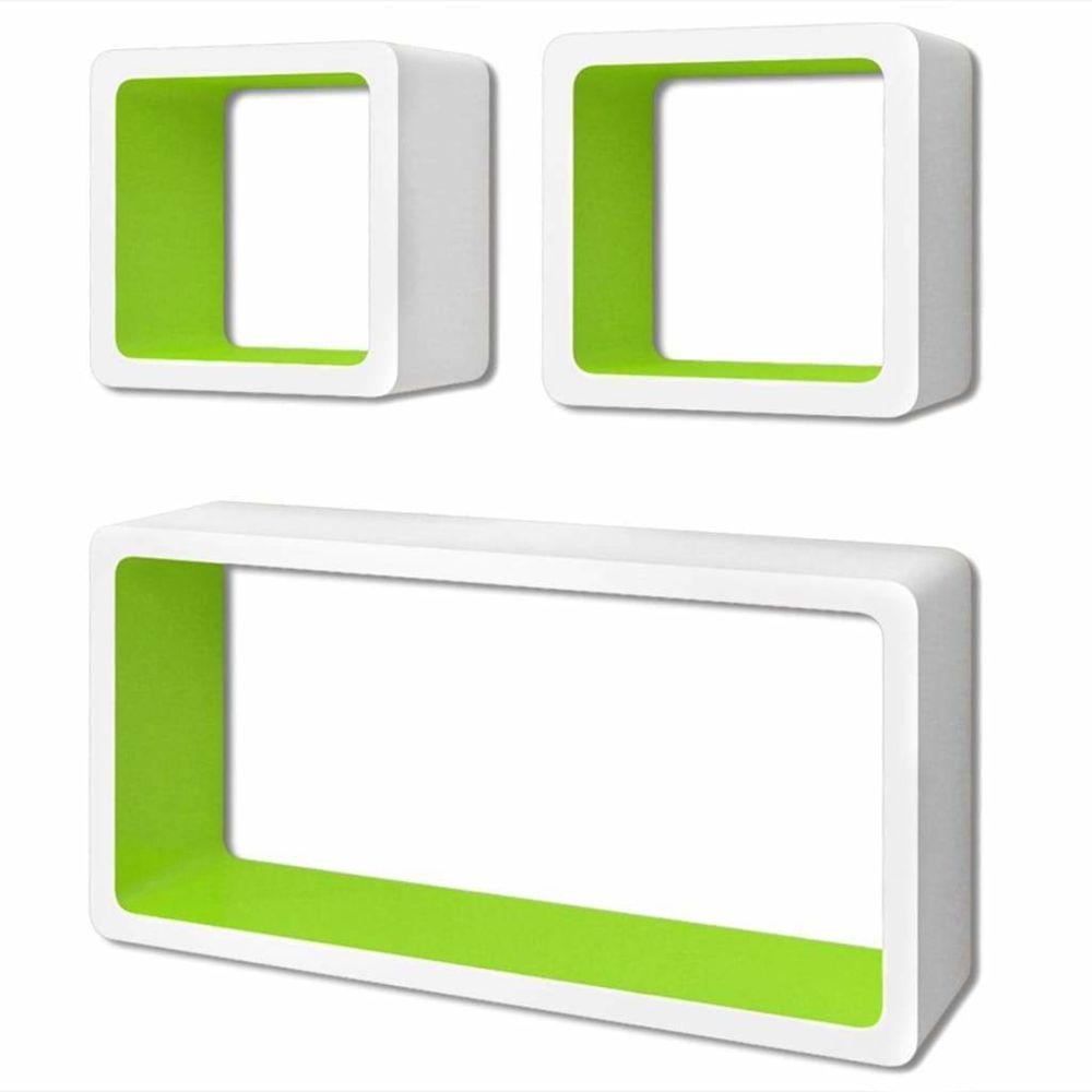 Helloshop26 Étagère armoire meuble design murales forme de cube 6 pcs blanc et vert 2702245/2