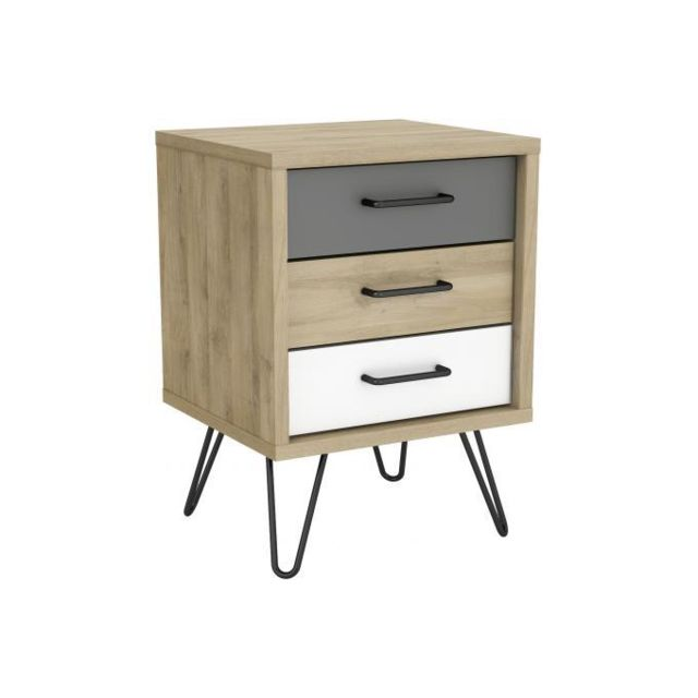 Declikdeco - Table de Chevet Scandinave avec 3 Tiroirs Multicolore ELEA - Chevet