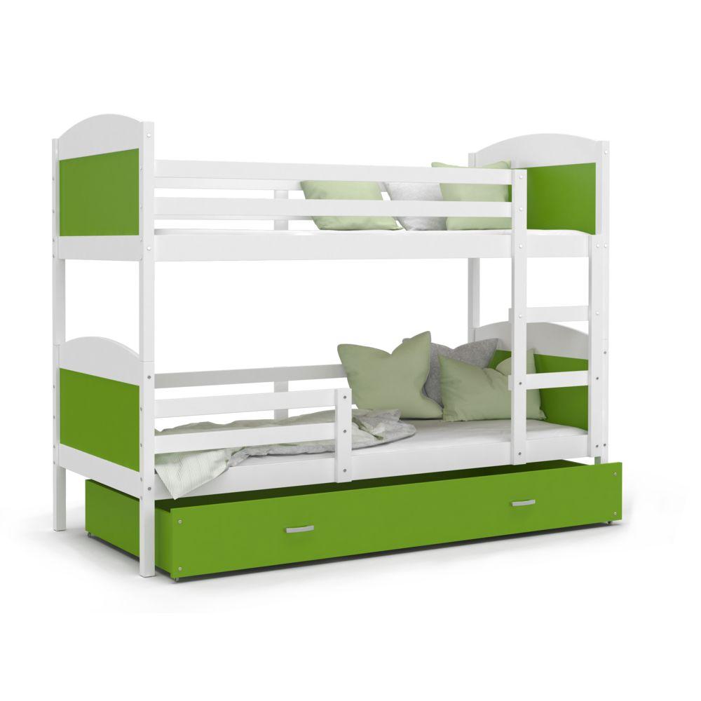 Kids Literie Lit superpose Mateo 90x190 blanc vert livré avec tiroir,2 sommiers et 2 matelas en mousse de 7cm offerts