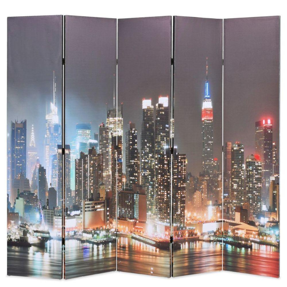 Vidaxl Cloison de séparation pliable 200x180 cm New York la nuit - Séparateurs de pièces - Meubles   Multicolore   Multicolore