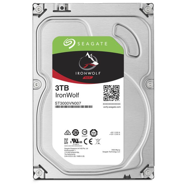 Disque Dur interne Seagate Ironwolf 3 To - 3.5'' SATA III 6 Go/s - Cache 64 Mo