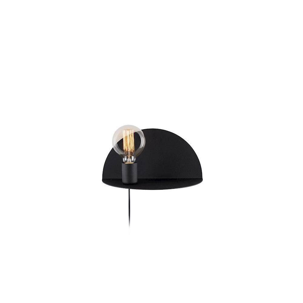 Homemania HOMEMANIA Lampe Murale Shelfie - Applique murale - avec étagère, porte-objet - pour salon, chambre - Noir en Métal, 30 x