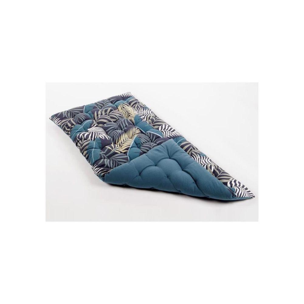 Cotton Wood Matelas de sol souple 100% coton imprimé JUNGLE 120x60x5cm - Bleu