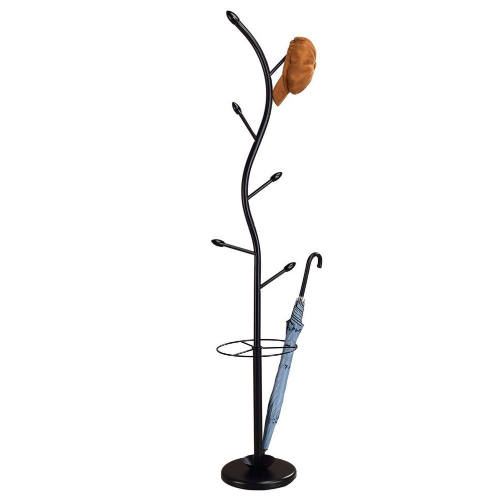 Idimex Porte-manteaux TRIANA portant à vêtements sur pied en forme d'arbre avec 6 crochets et un porte parapluie, métal laqué n