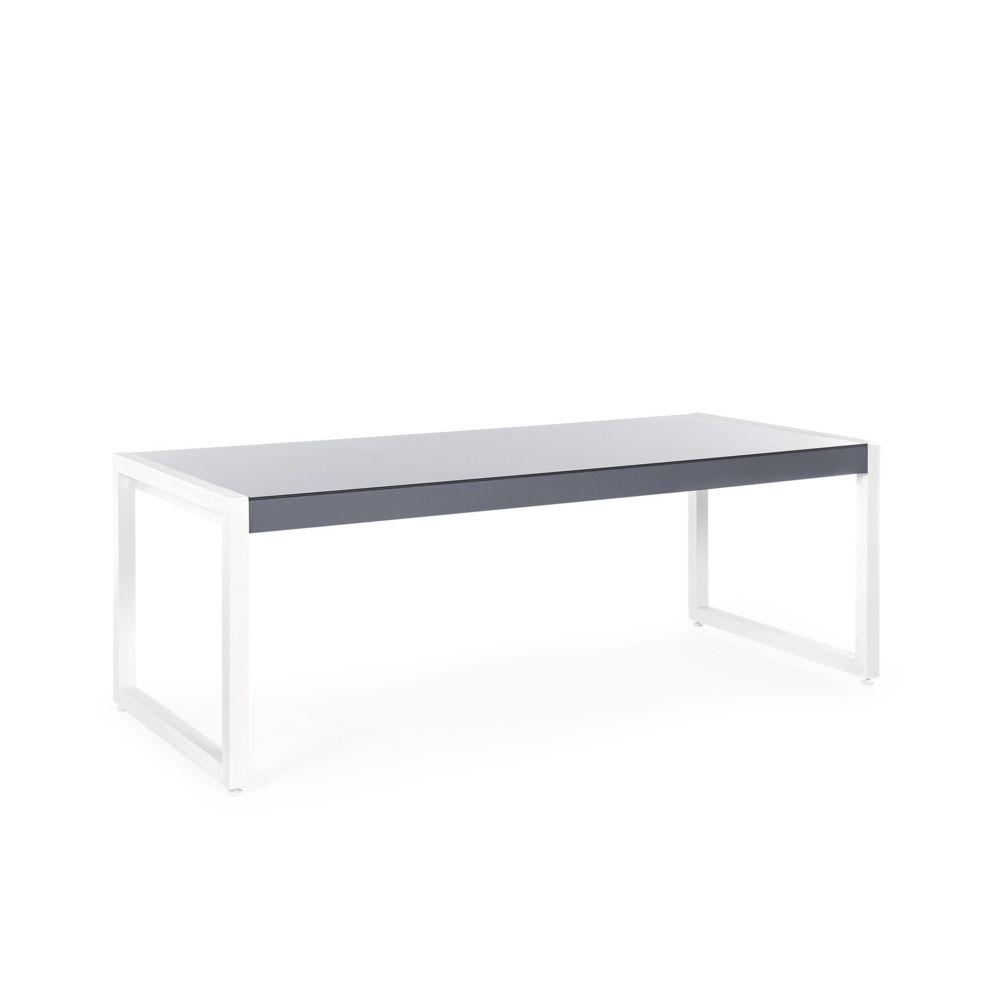 Beliani Beliani Table de jardin en aluminium gris et blanc 210 x 90 cm BACOLI - noir