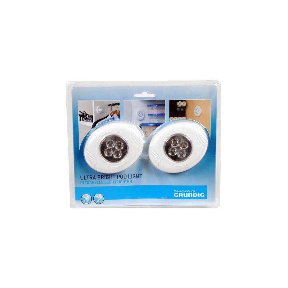 Coolminiprix Lot de 3 - Set de 2 lampes 4 LEDs Grundig Stick Touch blanches - Qualité COOLMINIPRIX