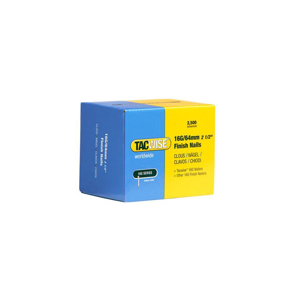 Tacwise Boîte de 2500 clous de finition de type 16G L. 64 mm - TA-0301 - Tacwise