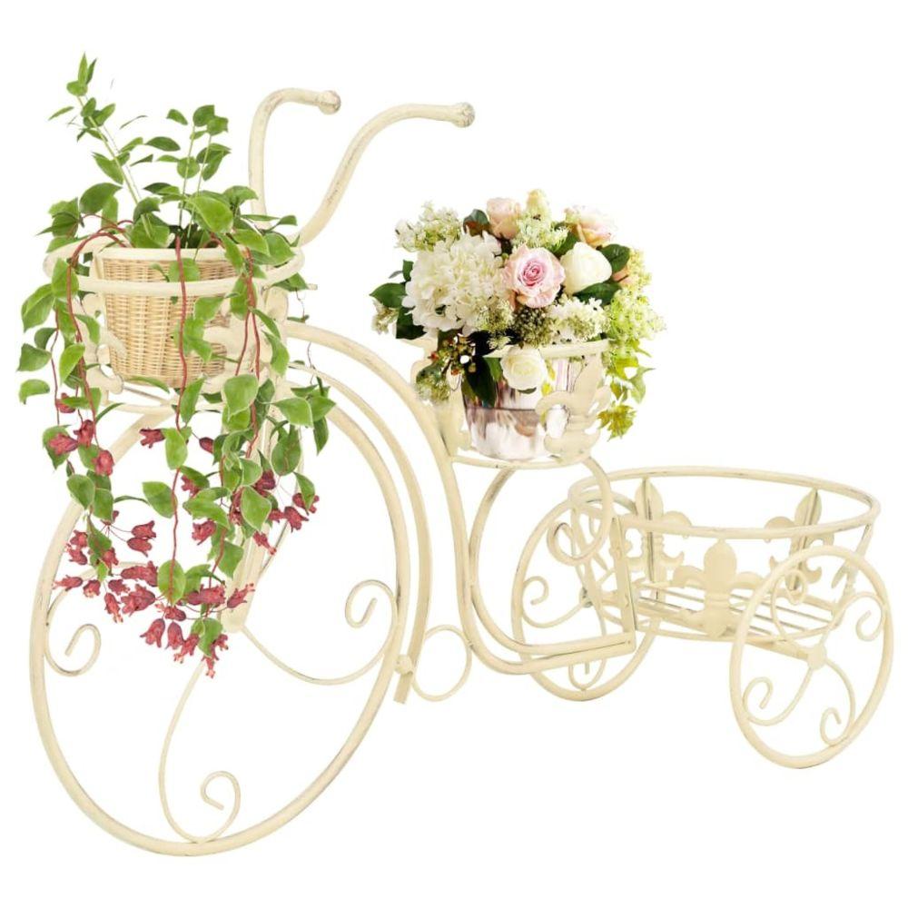Vidaxl Support de plantes sous forme de vélo Style vintage Métal - Jardinage - Supports pour plantes   Blanc   Blanc