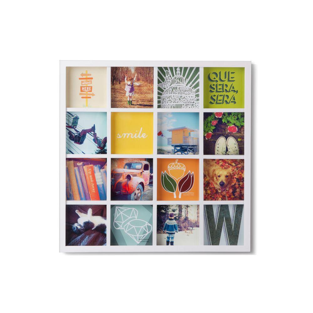 Sologne Cadre photo mural carré 16 vues en bois 43.2x43.2x3.2cm GRIDART